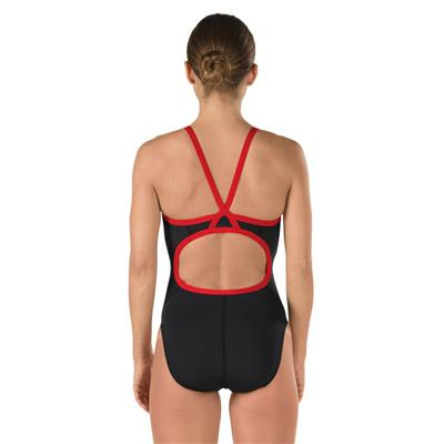 SPEEDO FLYBACK SWIMSUIT BLACK-RED (30)